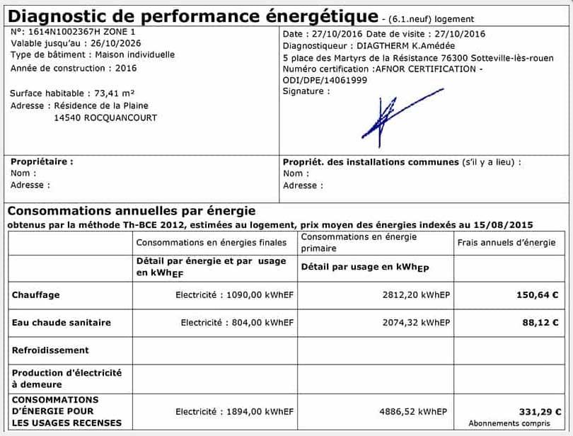dpe - Classement Energetique Maison Individuelle