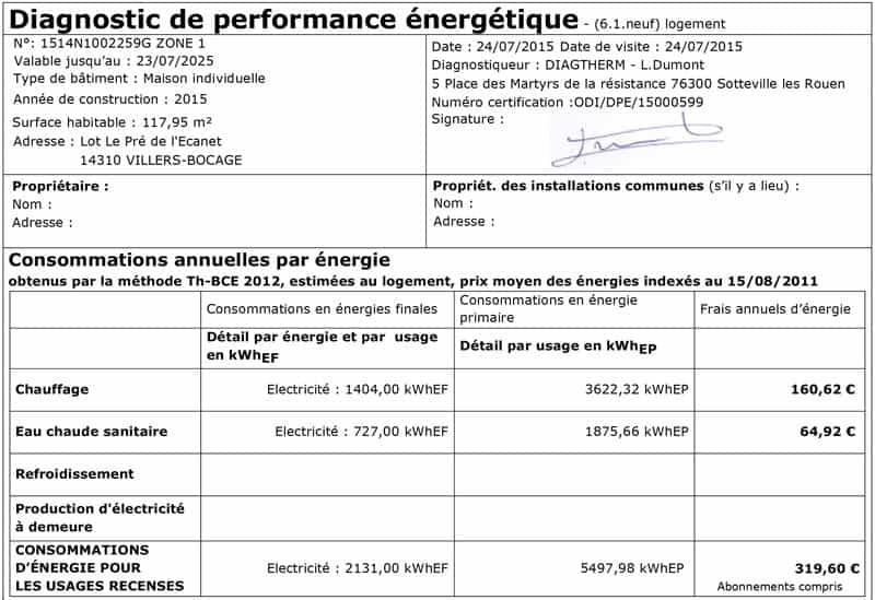 villers bocage - Classement Energetique Maison Individuelle